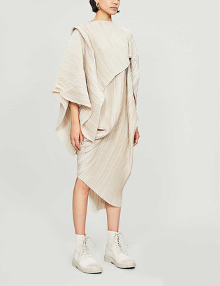 Haraza asymmetric pleated stretch-jersey dress