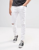 Benetton White Skinny Fit Jeans with Rips