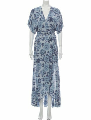 Reformation Floral Print Long Dress Blue