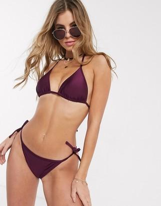 New Look tie side bikini bottoms in berry-Pink