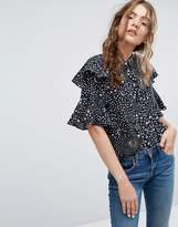 Lily & Lionel Silk Ruffle Shirt in Celestial Print