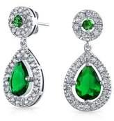 Bling Jewelry Cz Simulated Emerald Bridal Teardrop Earrings Rhodium Plated Brass.