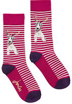 Joules Brilliant Bamboo Xmas Stripe Dog Ankle Socks, Pack of 1, Ruby
