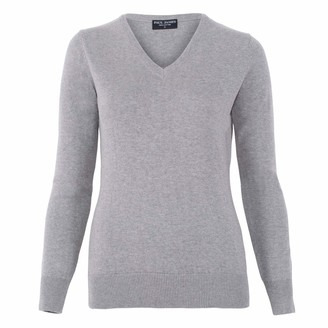Paul James Knitwear Womens Pure Cotton V-Neck Jumper Ash Grey