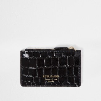 River Island Womens Black leather croc embossed card holder purse