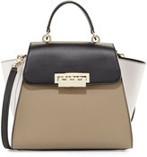 Zac Posen Eartha Colorblock Leather Shoulder Bag, Clay/Black/Light Gray