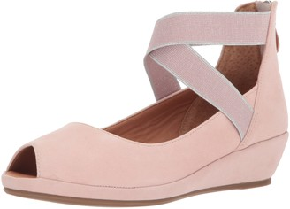 Gentle Souls by Kenneth Cole Women's Lisa Peep Toe Demi Wedge with Elastic Straps Pump