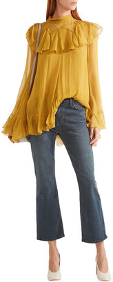 Current/Elliott The Kick Cropped Mid-rise Flared Jeans