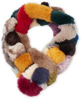 Adrienne Landau Multicolor Real Rabbit Fur Scarf