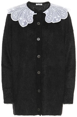 Miu Miu Lace-trimmed mohair-blend cardigan