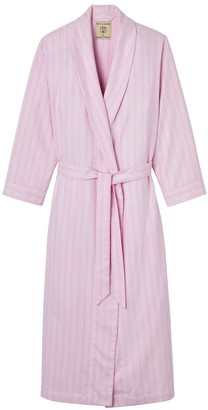British Boxers Women's Westwood Pink Stripe Brushed Cotton Dressing Gown