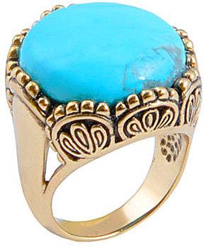 Barse Turquoise Howlite Bronze Statement Ring