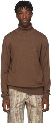 Han Kjobenhavn Brown Merino Logo Turtleneck