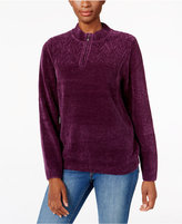 Alfred Dunner Zippered Mock-Neck Sweater
