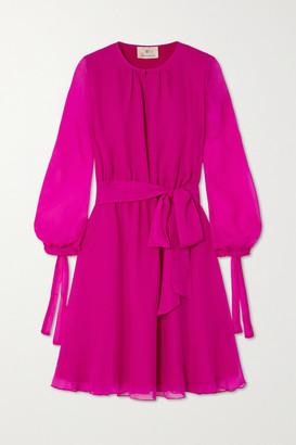 ARoss Girl x Soler Amanda Belted Silk-voile Mini Dress - Magenta
