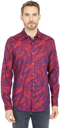 Robert Graham Expressionist Long Sleeve Woven Shirt (Raspberry) Men's Clothing