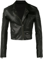 Haider Ackermann cropped biker jacket - unisex - Cotton/Leather/Cupro/Rayon - S