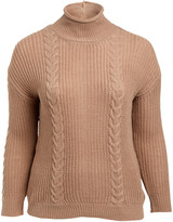 Derek Heart Women's Pullover Sweaters WARM - Warm Taupe Cable-Knit Button-Back Sweater - Plus