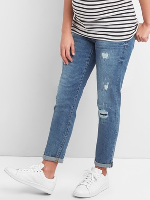 Gap Maternity Inset Panel Repaired Girlfriend Jeans
