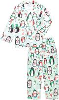 Sara's Prints Light Blue Holiday Penguins Pajama Set - Girls
