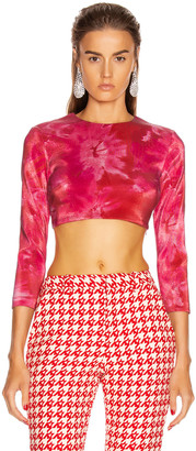 Area Long Sleeve Cropped Top in Ruby & White | FWRD