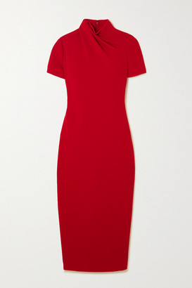 Brandon Maxwell Draped Wool-crepe Midi Dress - Red