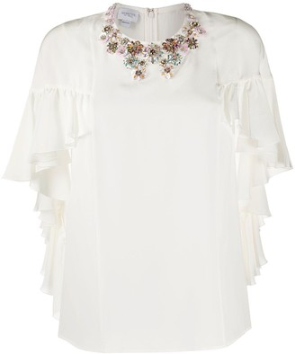 Giambattista Valli Embellished Ruffled Top