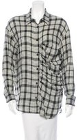 Kimberly Ovitz Plaid Wool Button-Up Top
