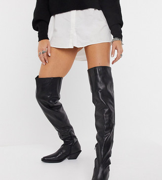 ASRA Exclusive Kyla over-the-knee western boots in black leather