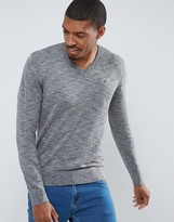 Hollister Chain Vneck Jumper Icon Logo In Grey Slub