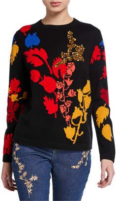 Escada Wool-Cashmere Floral Embellished Sweater