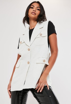 Missguided Cream Sleeveless Tailored Boucle Jacket