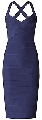 Herve Leger Open X Back Weaved Front Icon Dress