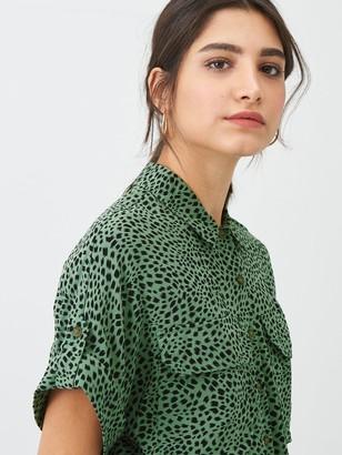 Whistles Spotted Animal Print Pocket Shirt - Green