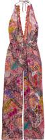 Etro Embellished Printed Georgette Halterneck Jumpsuit - Bright pink
