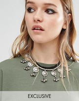 Reclaimed Vintage Button Choker With Bells