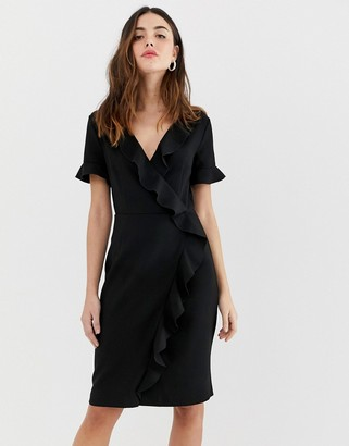 French Connection Alianor frill front pencil dress-Black
