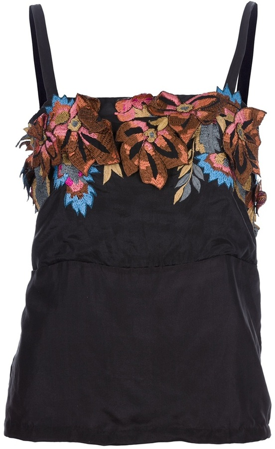 Dries Van Noten embroidered floral vest top