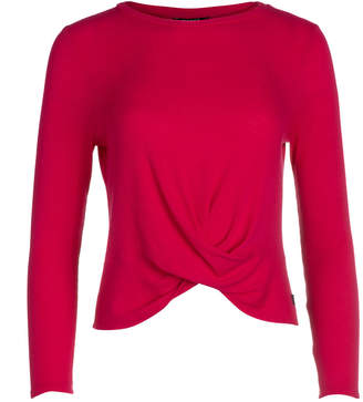 Terez Girl's Hot Pink Long-Sleeve Twist Front Waffle Top, Size 7-16