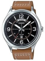 Casio Men's Brown Leather Modern Dial Watch Day/Date MTP-E129L-5AV