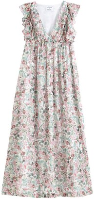 Balzac Paris X La Redoute Collections Floral Print Sleeveless Maxi Dress with Plunge Neck and Ruffles