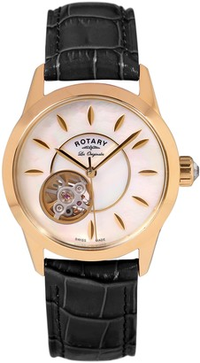 Rotary Womens Skeleton Automatic Watch with Leather Strap LS90513/41/L2G