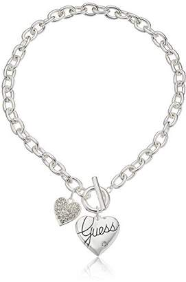 GUESS Basic Logo Heart and Pave Heart Toggle Pendant Necklace