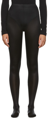 Versace Black Shiny Stretch Leggings
