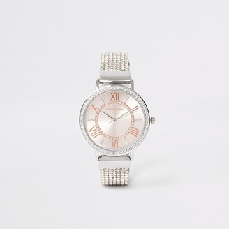 River Island Silver colour diamante strap watch