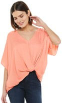 JLO by Jennifer Lopez Women's Drapey Twist Hem Top