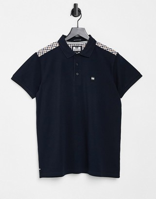 Weekend Offender iridium polo shirt with plaid shoulder in navy