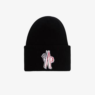 MONCLER GRENOBLE Black Logo Applique Virgin Wool Beanie