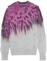 Raquel Allegra Distressed Tie-dyed Merino Wool And Cashmere-blend Sweater - Magenta