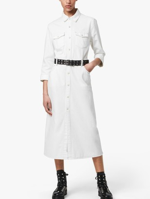 AllSaints Polly Denim Midi Dress, White